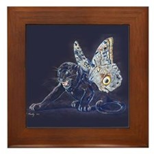 Black Butterfly Panther Framed Tile