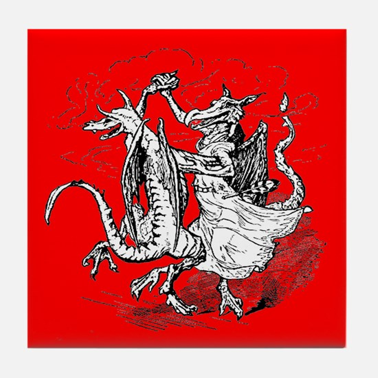 Dancing Dragons Tile Coaster (Red)