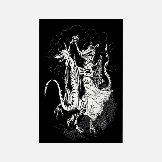 Dancing Dragons Rectangle Magnet (Black)