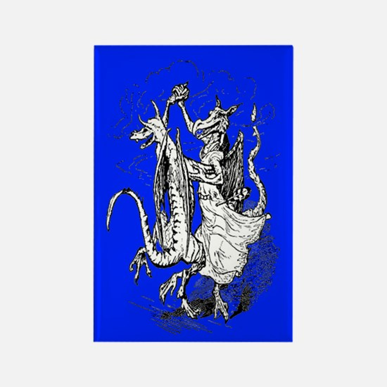 Dancing Dragons Rectangle Magnet (Blue)