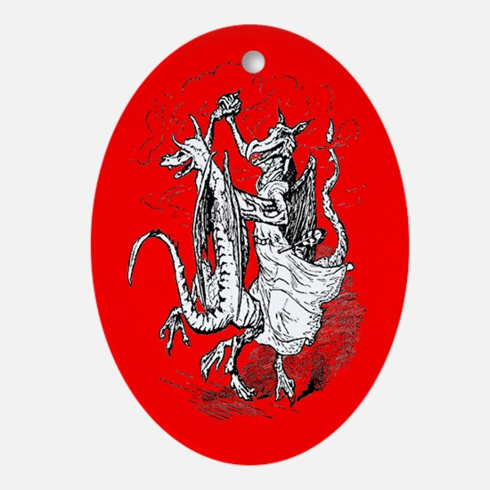 Dancing Dragons Ornament (Oval-Red)
