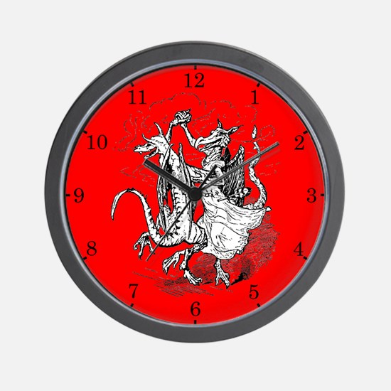Dancing Dragons Wall Clock (Red-W-Black Numbers)