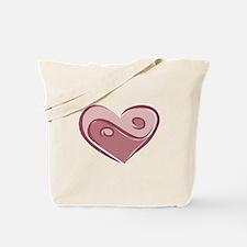 Ying Yang Heart Design Tote Bag