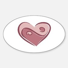 Ying Yang Heart Design Oval Decal