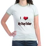I Love (Heart) My Step Father Jr. Ringer T-Shirt