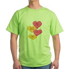 Anti Love Candy Heart Design Green T-Shirt
