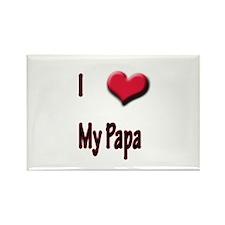 I Love (Heart) My Papa Rectangle Magnet