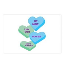 Cute Valentine Candy Hearts Design Postcards (Pack