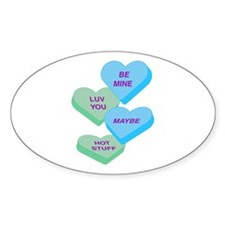 Cute Valentine Candy Hearts Design Oval Decal