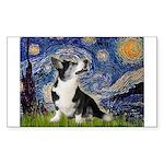 Starry Night / Welsh Corgi Sticker (Rectangle)