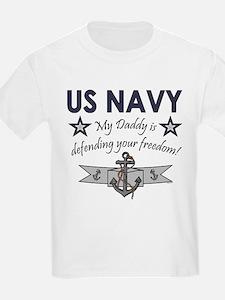 NAVY Daddy defending freedom Kids T-Shirt