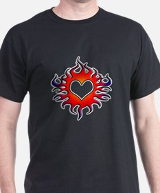 Tribal Flames Heart Design T-Shirt