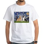 Starry Night / Corgi pair White T-Shirt