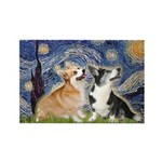 Starry Night / Corgi pair Rectangle Magnet (10 pac