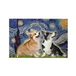 Starry Night / Corgi pair Rectangle Magnet