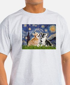 Starry Night / Corgi pair T-Shirt