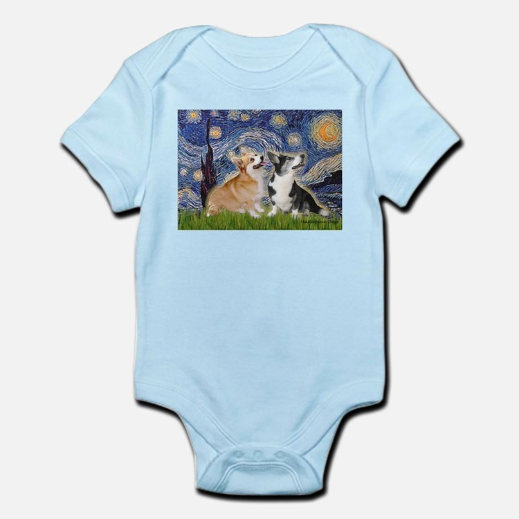 Starry Night / Corgi pair Infant Bodysuit