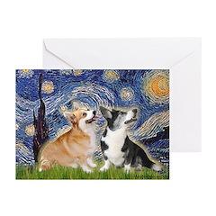 Starry Night / Corgi pair Greeting Cards (Pk of 20