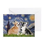 Starry Night / Corgi pair Greeting Cards (Pk of 10