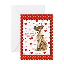 Great Dane Brindle Kiss Greeting Card