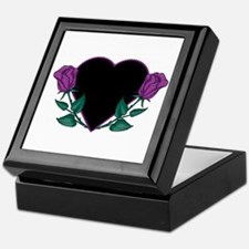 Black Heart & Purple Roses Design Keepsake Box