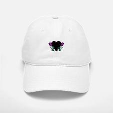 Black Heart & Purple Roses Design Baseball Baseball Cap