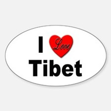 I Love Tibet Oval Decal