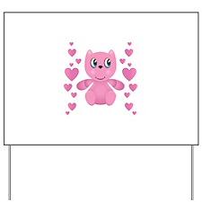Cute Pink Valentine Bear Design Yard Sign