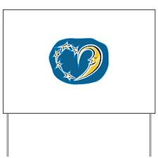Moon & Stars Celestial Heart Yard Sign