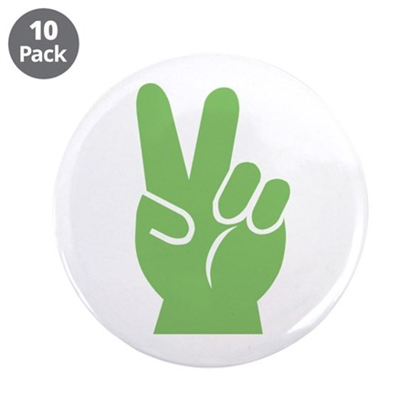 """Green Hand of Peace 3.5"""" Button (10 pack)"""