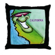 California cartoon map Throw Pillow