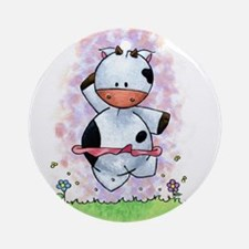 Happy Dancing Cow Ornament (Round)