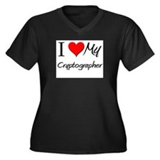 I Heart My Cryptographer Women's Plus Size V-Neck