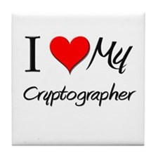 I Heart My Cryptographer Tile Coaster