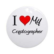 I Heart My Cryptographer Ornament (Round)
