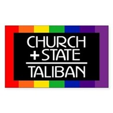 CHURCH + STATE = TALIBAN Rectangle Decal