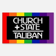 CHURCH + STATE = TALIBAN Rectangle Decal