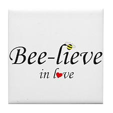 BEE-LIEVE IN LOVE Tile Coaster