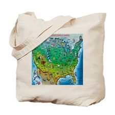Funny Cartoon map of us Tote Bag