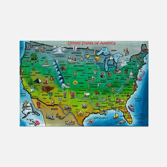 USA Map 11x17 Magnets
