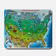 USA Cartoon Map Mousepad