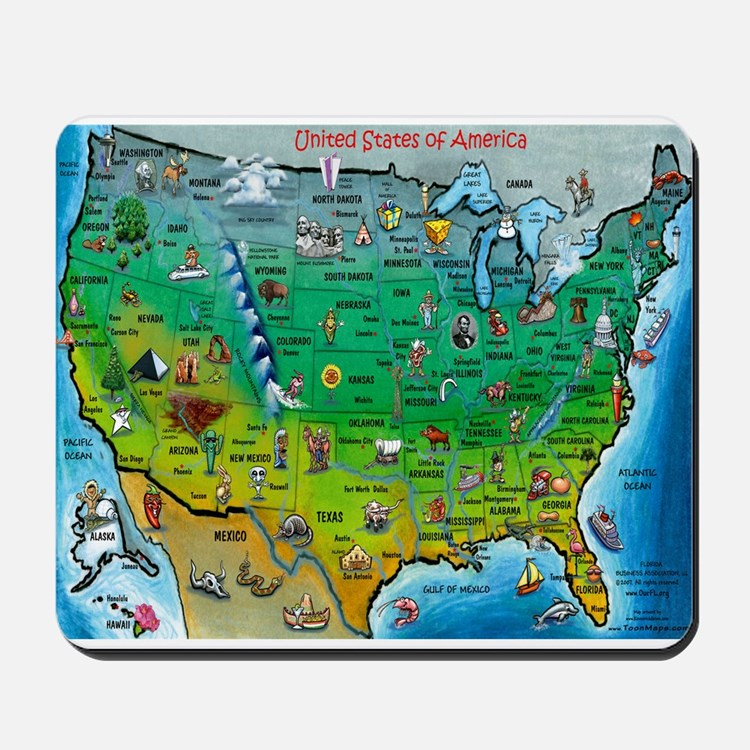 USA Cartoon Map Mousepad
