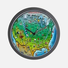 USA Cartoon Map Wall Clock