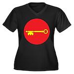 Seneschal Women's Plus Size V-Neck Dark T-Shirt
