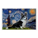 Starry Night / Welsh Corgi(bi Sticker (Rectangle)