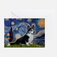 Starry Night / Welsh Corgi(bi Greeting Cards (Pk o