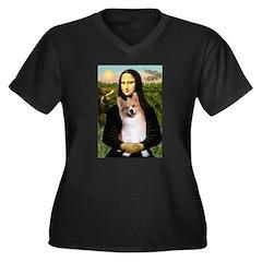 Mona Lisa / Welsh Corgi(p) Women's Plus Size V-Nec