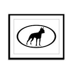 Boston Terrier Oval Framed Panel Print