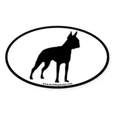 Boston Terrier Oval (black border) Oval Decal