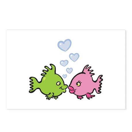 Kissy Love Fish Valentine Postcards (Package of 8)
